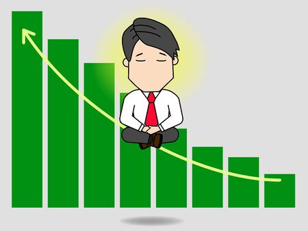 Businessman doing and thinking about the growth graph. Funny flat vector concept. Illustration