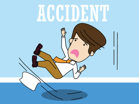 Businessman slipping on a floor. Funny flat vector concept. Çizim