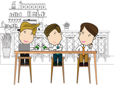 A businessman relaxing together in the cafe. Funny flat vector concept.