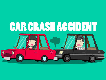 Businessman driving a private car. Car crash of the girl in shock. Funny vector concept. Illustration
