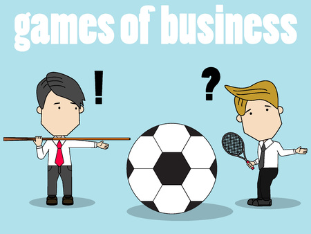 Businessmen compete in different types of sport with confuse. vector design.