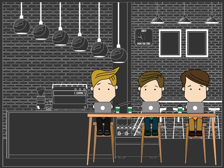 wireless communication: Businessman working together in the coffee shop. Funny flat vector concept.