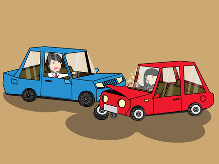 rende: car crash. accident with two damaged auto. Flat vector design