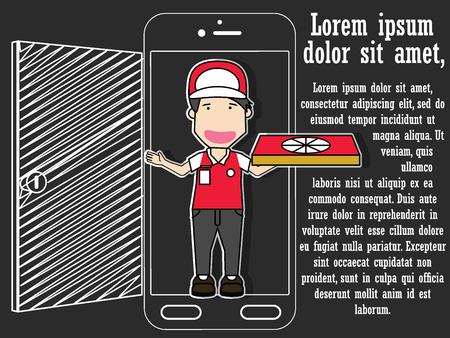 Order delivery pizza at home using a smart phone. Flat Vector concept.