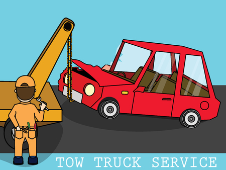 The mechanic is using the hoist to lift the car that just accident. Dragged to the garage. flat vector concept.