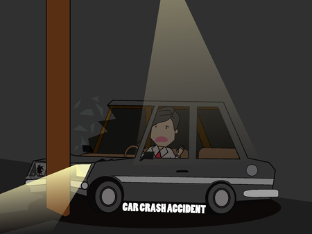 drunk driving: Businessman drive a car Accident With Pole . Flat vector concept. Illustration