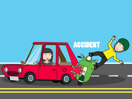 Scooter crash with woman car. Flat vector concept. Illustration