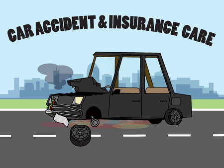 Car accident was demolished on the roadside. Flat vector wide concept.