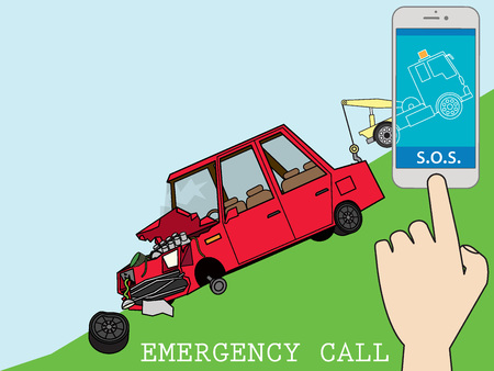 Flat tow truck on smart phone on-line mobile emergency auto mobile repair service assistance app concept. Illustration