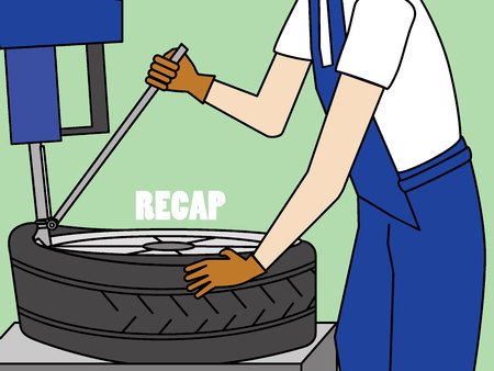 Mechanic with tire repair equipment. Flat vector concept.