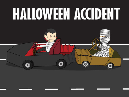 Mummy driving with carelessness. Collide at the back of a vampire car. Flat Vector illustration concept.