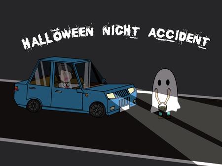 Businessman driving car is hitting Halloween children costume with shock. Flat vector illustration design.