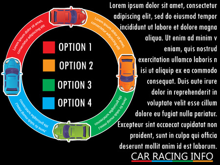 Four car on the color circle bar Vector for business information rendering