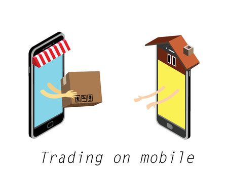 package sending: Hand giving goods box to other hand. International mobile marketing mobile online.