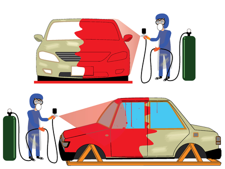 male symbol: spray painting auto mobile body at car collision repair shop. Flat style vector illustration