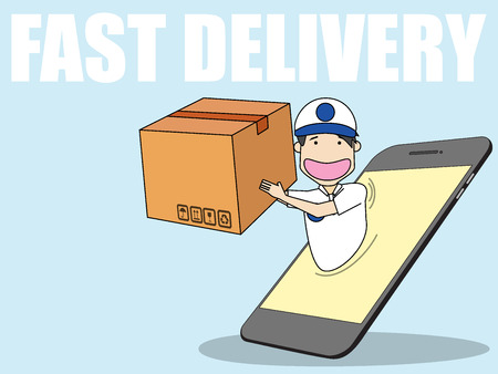 Business on line shipping over generic smart phone on funny flat vector style.