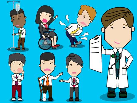 Der Arzt zeigt dem Patienten und dem Mitarbeiter die Kostenliste an. Flache lustige Vektor-Design.