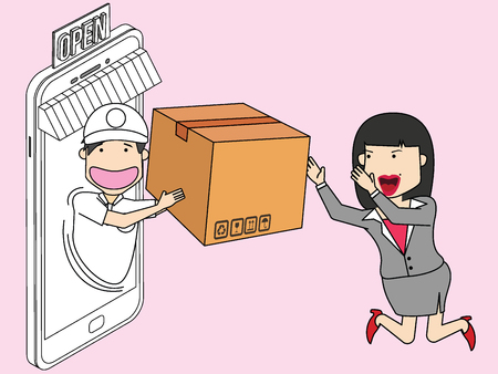 Messenger delivered the package to businesswoman with Trading great delight. Flat funny vector illustration.
