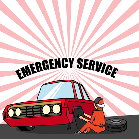 spare: Tire service mechanic. Worker changing a punctured tire car. flat vector design