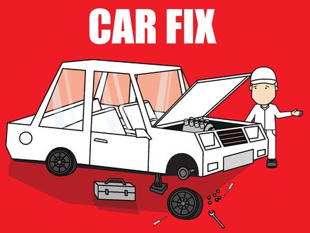 car brake: Auto mechanic service station. Flat vector concept.
