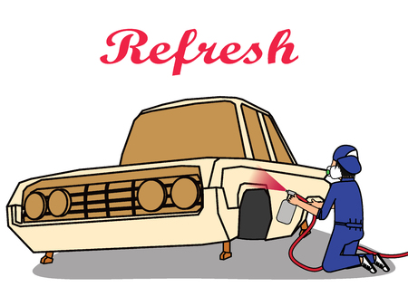 Autolakservice. Arbeider die een stemming van auto verandert. platte vector illustratie concept. Stock Illustratie