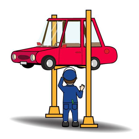car examine by mechanic cartoon character. Vector illustration concept.