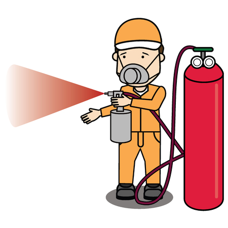 Specialist spray color isolate on shop. Flat vector illustration concept.
