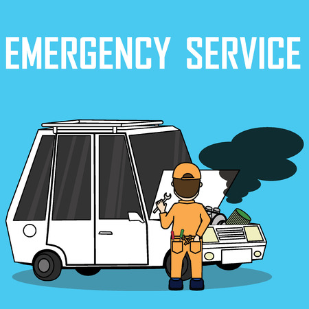 Car Trouble. Car breaks down. vehicle recovery concept. Vector illustrations flat design
