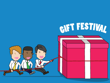 Together join help gift box vector cartoon for dialogue with other characters