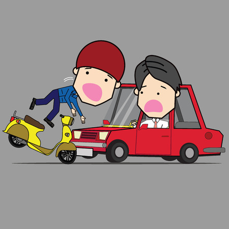 Man and motorcycle collide with front of car radically. Illustration
