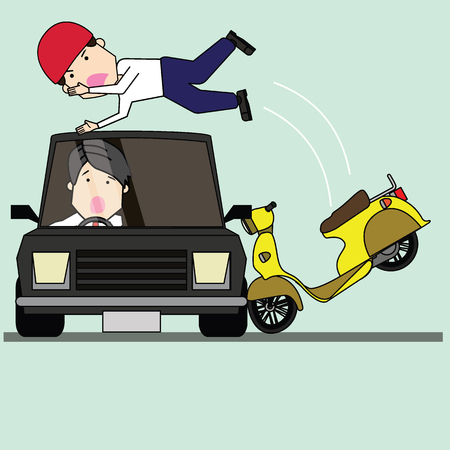 Man and motorcycle collide with side of car radically. Flat vector illustration concept. Ilustração