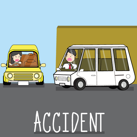 Cars accident vector illustration.