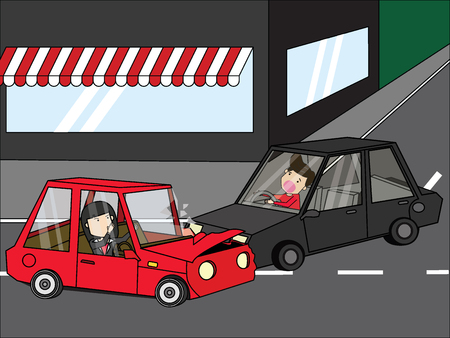 Young woman car crash with young man of a young man. Flat vector illustration design.