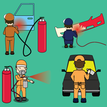Set of worker and his work. Spraying colour on shatters car part. Flat vector illustration concept. Illustration