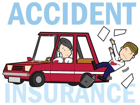 Pedestrian crashes with a man driving a car. Flat illustration vector concept.