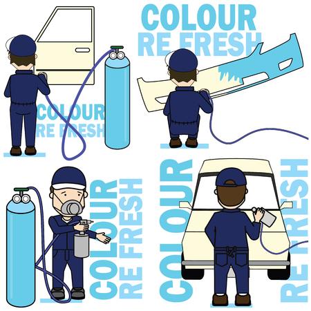 Set of worker spraying color on car parts. Flat vector illustration concept. Illustration