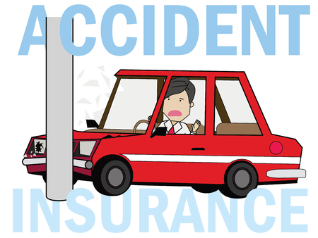 Man driving a car crashed on a pole. Flat illustration vector concept.