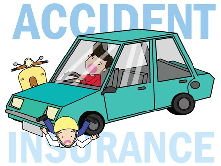 Woman driving a car crashed with a man with scooter. Flat vector illustration design. Illustration