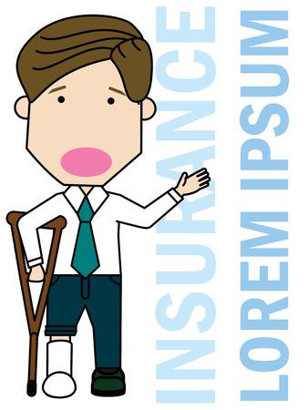 Businessman with leg injury. Funny illustration vector concept. Ilustração