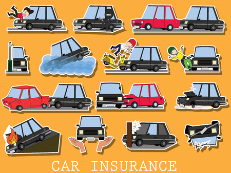 Set of car of accidents on the road. Funny cute flat vector illustration. Vettoriali