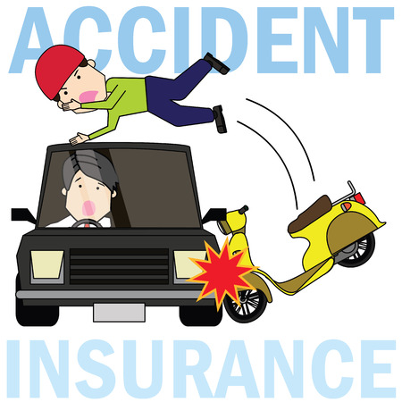 Man driving a motorcycle collide with side of car radically. Flat vector illustration concept.