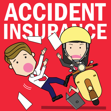 A little girl drives a motorcycle with negligence until it collides with the young man walking along the way. Flat vector illustration design.