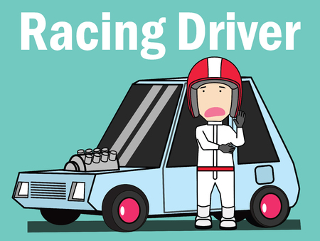 the sports racing with man standing at side . Vector  illustration flat design.