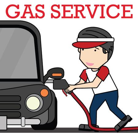 Oilman Service at the service station. illustration vector concept. Illustration