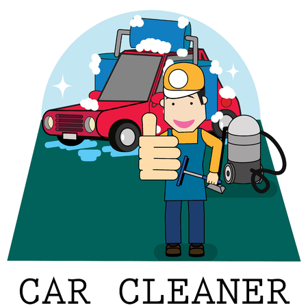 Staff shows his thumb up in the car wash service flat vector illustration concept. Illustration