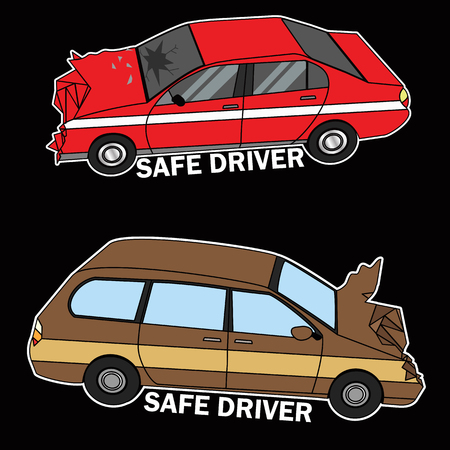 Symbol of cars demolished flat vector illustration concept.