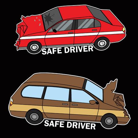 Symbol of cars demolished flat vector illustration concept.