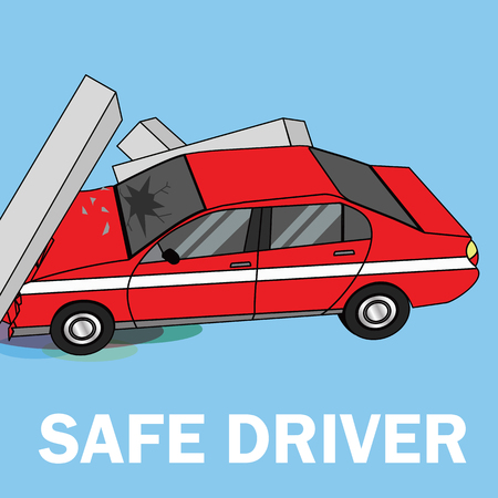 Car crashed into the pole flat vector illustration.
