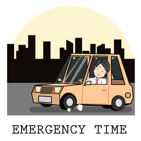 Tire leak seen by the driver cartoon vector illustration.