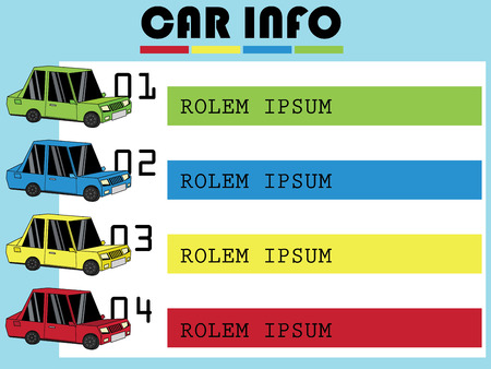Four color car on the color bar. Vector for business information rendering. Vettoriali
